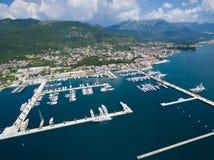 Vista aérea de Oporto Montenegro Ciudad de Tivat Imagen de archivo