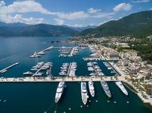 Vista aérea de Oporto Montenegro Ciudad de Tivat Foto de archivo libre de regalías