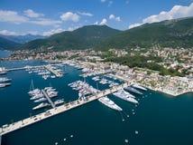 Vista aérea de Oporto Montenegro Ciudad de Tivat Fotos de archivo libres de regalías