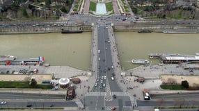 Vista aérea de París de la torre Eiffel Fotografía de archivo