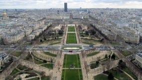 Vista aérea de París de la torre Eiffel Foto de archivo