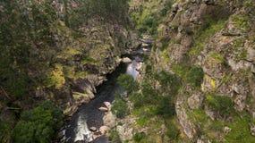 Vista aérea de passagens da natureza de Paiva no rio de Paiva, Portugal Fotografia de Stock