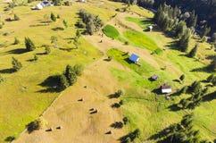 Vista aérea de pilhas do feno Imagens de Stock Royalty Free