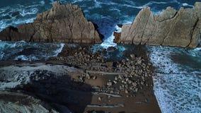 Vista aérea de playas espectaculares en costa septentrional española Fotos de archivo