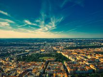 Vista aérea de Riegrovy sady fotos de archivo