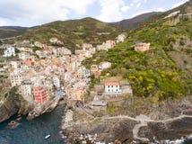 Vista aérea de Riomaggiore, Italia fotos de archivo