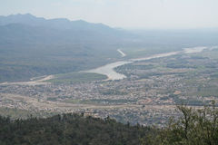 Vista aérea de Rishikesh y de Ganga la India Foto de archivo libre de regalías