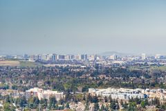 Vista aérea de San Jose do centro em um dia claro, Silicon Valley, Califórnia imagem de stock royalty free