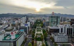 Vista aérea de Sapporo, Japón Foto de archivo