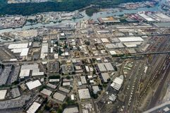 Vista aérea de Seattle do avião em Washington United States de América Foto de Stock