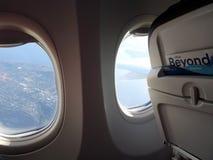 Vista aérea de Seattle fuera del ala del avión de Alaska Airlines Imagen de archivo