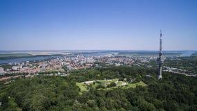 Vista aérea de Silistra, Bulgaria imagenes de archivo