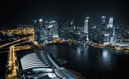 Vista aérea de Singapur en la noche Fotografía de archivo