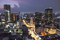 Vista aérea de skyscrappers do centro de Cidade do México no tempo do por do sol antes da noite imagens de stock royalty free