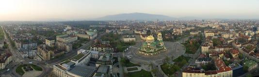 Vista aérea de St Alexander Nevsky Cathedral, Sófia, Bulgária foto de stock