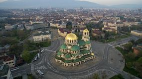 Vista aérea de St Alexander Nevsky Cathedral, Sofía, Bulgaria imagen de archivo