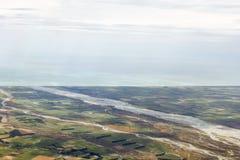 Vista aérea de suburbios de la ciudad de Christchurch, Cantorbery, nuevo Zea imagen de archivo libre de regalías