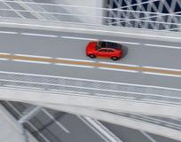 Vista aérea de SUV eléctrico rojo metálico que conduce en la carretera stock de ilustración
