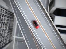 Vista aérea de SUV eléctrico rojo metálico que conduce en la carretera libre illustration
