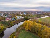 Vista aérea de Suzdal no dia do outono foto de stock royalty free