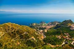 Vista aérea de Taormina Imagens de Stock