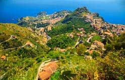 Vista aérea de Taormina Fotografia de Stock Royalty Free