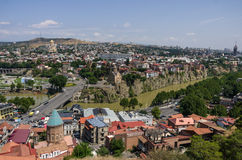 Vista aérea de Tbilisi, Geórgia Imagens de Stock