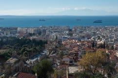 Vista aérea de Tessalónica, Greece Tessalónica é a segunda fotografia de stock royalty free