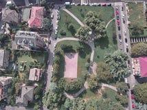 Vista aérea de um parque em Milão fotos de stock royalty free