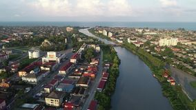 Vista aérea de uma da cidade Poti da costa do Mar Negro, Geórgia video estoque