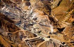 Vista aérea de uma pedreira do enxôfre em Hakone Foto de Stock