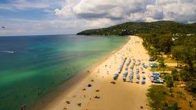 Vista aérea de uma praia em Tailândia Fotografia de Stock Royalty Free
