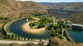 Vista aérea de uma represa hidroelétrico em Boise River em Idaho s Fotografia de Stock