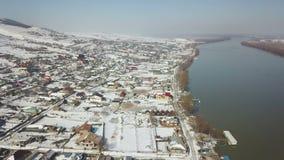 Vista aérea de uma vila pequena no delta de Danúbio vídeos de arquivo