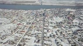 Vista aérea de uma vila pequena no delta de Danúbio filme