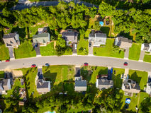 Vista aérea de uma vizinhança do cortador da cookie Fotos de Stock Royalty Free