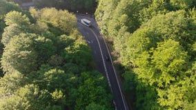 Vista aérea de un camino hermoso de la montaña metrajes