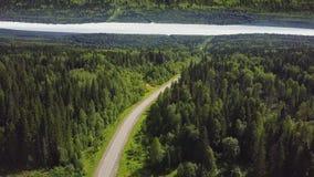 Vista aérea de un camino vacío curvado en un bosque en un día de verano, efecto del horizonte del espejo Carretera nacional verde almacen de metraje de vídeo