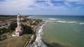 Vista aérea de un faro viejo en el Mar Negro, Bulgaria imagen de archivo libre de regalías
