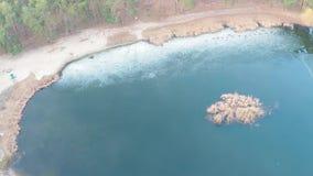 Vista aérea de un lago en un bosque del pino con una playa arenosa en primavera temprana en la salida del sol metrajes
