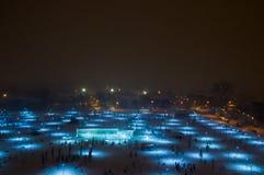 Vista aérea de un parque aligerado en nieve fotos de archivo
