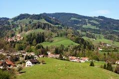 Vista aérea de un pueblo suizo del país. Fotografía de archivo libre de regalías