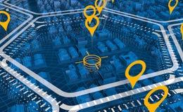 Vista aérea de una ciudad transparente azul dividida en las áreas hexagonales blancas con las marcas amarillas ilustración del vector