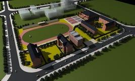 Vista aérea de una escuela Foto de archivo