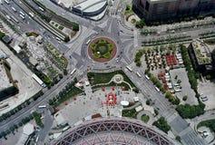 Vista aérea de una intersección del camino Fotografía de archivo