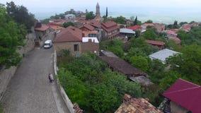 Vista aérea de una pequeña ciudad verde de la montaña almacen de metraje de vídeo