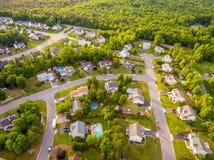 Vista aérea de una vecindad del cortador de la galleta foto de archivo