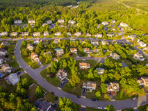 Vista aérea de una vecindad del cortador de la galleta imagen de archivo