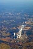 Vista aérea de una vertical de la central eléctrica Imágenes de archivo libres de regalías