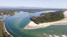 Vista aérea de Urunga Foto de archivo